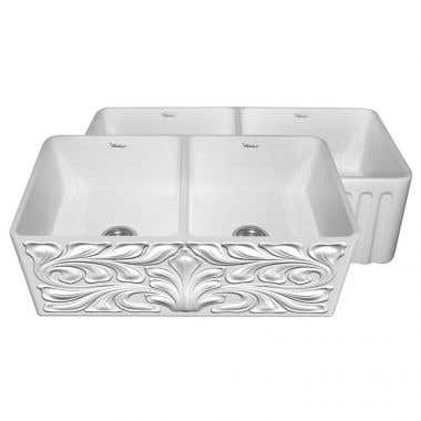 Whitehaus Reversible Series 33 Inch Double Bowl Fireclay Farmhouse Sink