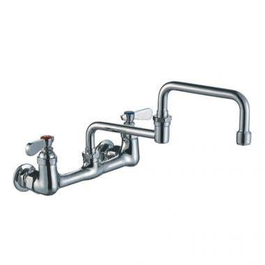 Whitehaus Wall Mount Utility Bridge Faucet with Double Jointed Retractable Swing Spout and Lever Handles