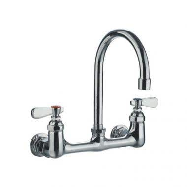 Whitehaus Wall Mount Gooseneck Utility Faucet with Swivel Spout and Lever Handles