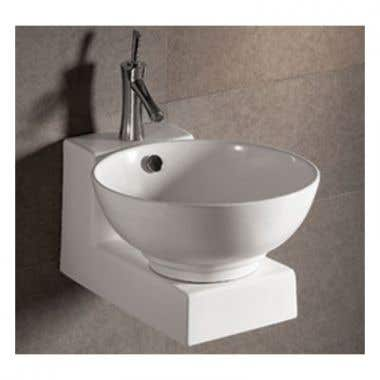 Whitehaus Isabella Collection Basin Sink with Overflow and Drain - Matching Wall Mount Base
