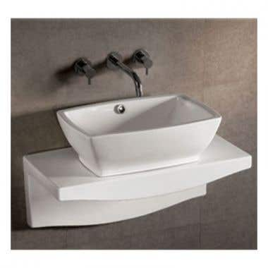 Whitehaus Isabella Collection Rectangular Basin Sink with Overflow and Drain - Matching Wall Mount Countertop
