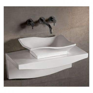 Whitehaus Isabella Collection Rectangular Vessel Sink with Drain (NO Overflow) - Matching Wall Mount Countertop