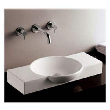 Whitehaus Isabella Collection Rectangular Vessel Sink with Integrated Round Bowl - Center Drain