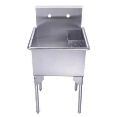 Whitehaus Pearlhaus Collection 20 Inch Brushed Stainless Steel Freestanding Utility Sink