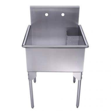 Whitehaus Pearlhaus Collection 24 Inch Brushed Stainless Steel Freestanding Utility Sink