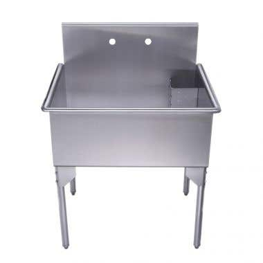 Whitehaus Pearlhaus Collection 30 Inch Brushed Stainless Steel Freestanding Utility Sink