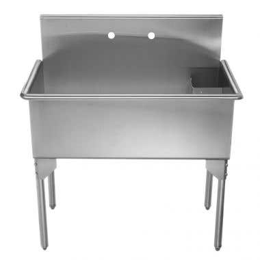 Whitehaus Pearlhaus Collection36 Inch Brushed Stainless Steel Freestanding Utility Sink
