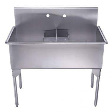 Whitehaus Pearlhaus Ccollection 40 Inch Double Bowl Brushed Stainless Steel Freestanding Utility Sink