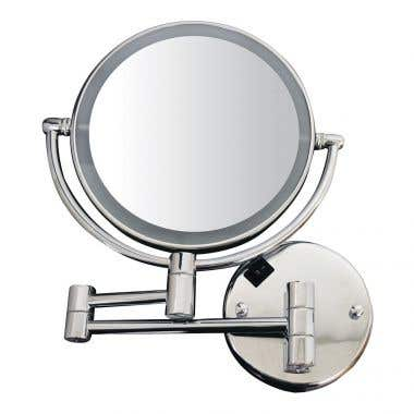 Whitehaus Collection Round Wall Mount Dual Led 7X Magnified Mirror