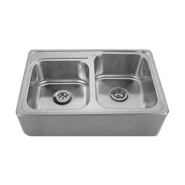 Whitehaus Noah Collection Drop-In Apron Front Kitchen Sink - No Faucet Drillings