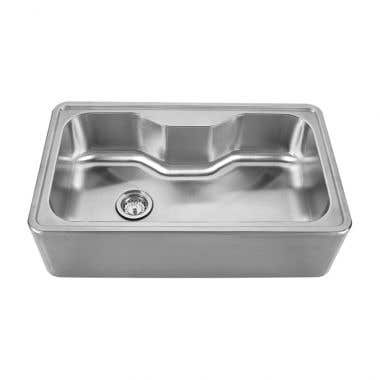 Whitehaus Noah Collection Single Bowl Front Apron Drop In Kitchen Sink - No Faucet Drillings