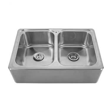Whitehaus Noah Collection Double Bowl Front Apron Drop In Kitchen Sink - No Faucet Drillings