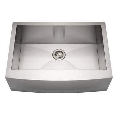 Whitehaus Noah Collection Stainless Steel Single Bowl Apron Front Kitchen Sink - No Faucet Drillings