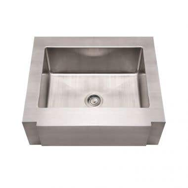 Whitehaus Single Bowl Apron Front Kitchen Sink with Decorative Notched Front - No Faucet Drillings