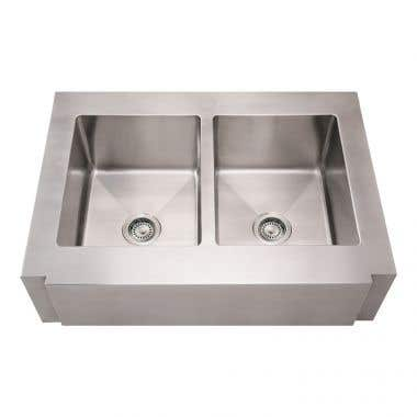 Whitehaus Double Bowl Apron Front Kitchen Sink with Decorative Notched Front - No Faucet Drillings