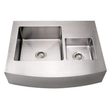 Whitehaus Noah Collection Double Bowl Apron Front Kitchen Sink with Arched Front - No Faucet Drillings
