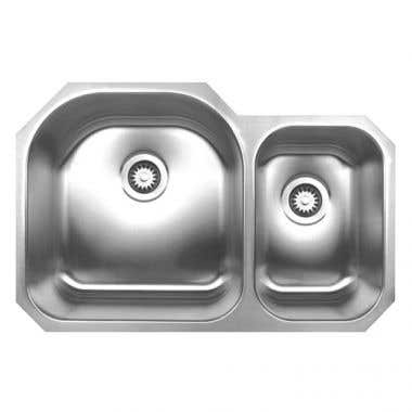 Whitehaus Noah Collection Stainless Steel Double Bowl Undermount Kitchen Sink- No Faucet Drillings