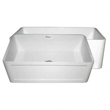 Whitehaus Farmhouse 27 Inch Reversible Plain Front/Concave Fireclay Farmhouse Sink
