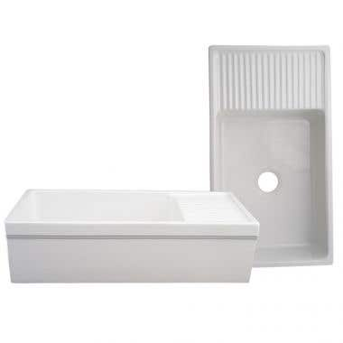Whitehaus Quatro Alcove Farmhaus Reversible Fireclay Kitchen Sink with Drain Board