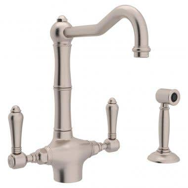 ROHL One Hole Country Kitchen Faucet with Sidespray Porcelain Levers