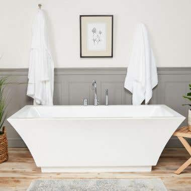Brushed Nickel - Asher Acrylic Double Ended Freestanding Tub Package