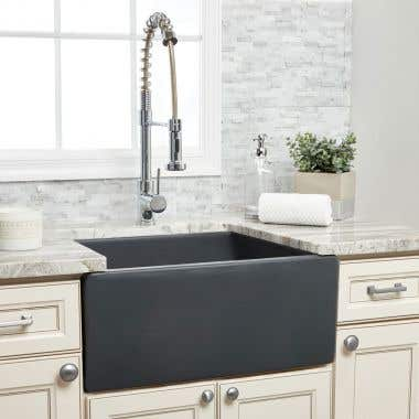 24 X 18 Fluted Fireclay Reversible Apron Farmhouse Sink - Matte Dark Gray