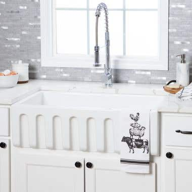 30 Inch Fireclay Reversible Apron Farmhouse Sink