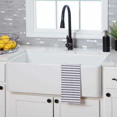 30 Inch Plain Front Fireclay Reversible Apron Farmhouse Sink - White