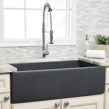 Randolph Morris 33 Inch Plain Front Fireclay Reversible Apron Farmhouse Sink - Matte Dark Gray