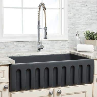 Randolph Morris 33 Inch Fluted Fireclay Reversible Apron Farmhouse Sink - Matte Dark Gray