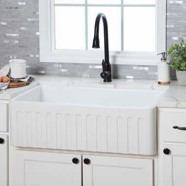 32 Inch Fireclay Reversible Apron Farmhouse Sink - White