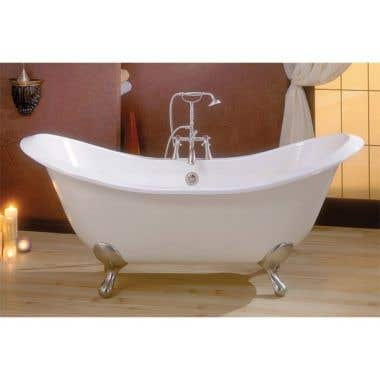 Cheviot Regency 61 Inch Cast Iron Double Slipper Clawfoot Tub - Rim Faucet Drillings - Lion Paw Feet