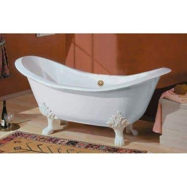 Cheviot Regency Cast Iron Double Slipper Clawfoot Tub - Rim Faucet Drillings - Lion Paw Feet