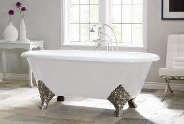 Cheviot Carlton 70 Inch Cast Iron Double Ended Clawfoot Tub - 7 Inch Rim Drillings