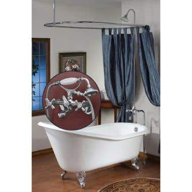 Cheviot Clawfot Tub Faucet with 24 x 54 Shower Enclosure and Cross Handles