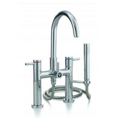 Cheviot Contemporary Deck Mount High Spout Clawfoot Tub Faucet with Handshower