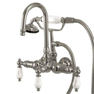 Kingston Brass Gooseneck Spout Clawfoot Tub Faucet with Handshower