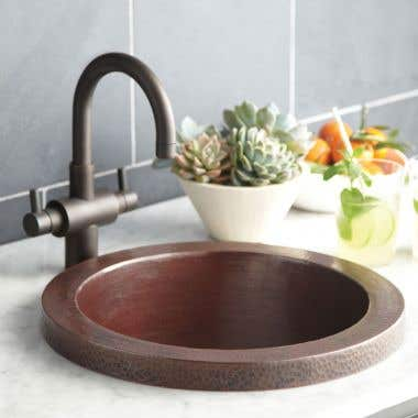 Native Trails Mojito 16 Inch Round Copper Drop In Bar and Prep Sink