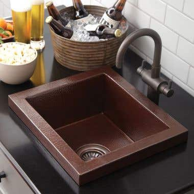 Native Trails Manhattan 17 Inch Copper Drop In Bar and Prep Sink