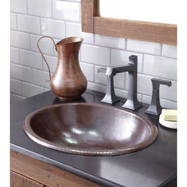 Native Trails Rolled Classic Hammered Copper Bathroom Sink