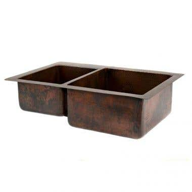 Premier Copper Products 33 Inch Hammered Copper Kitchen 40/60 Double Basin Sink