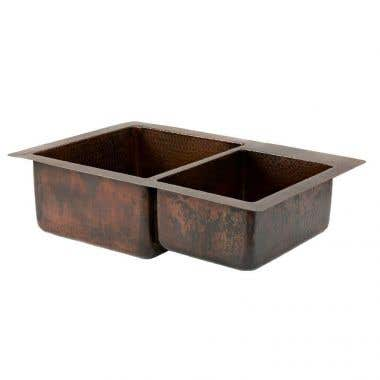 Premier Copper Products 33 Inch Hammered Copper Kitchen 60/40 Double Basin Sink