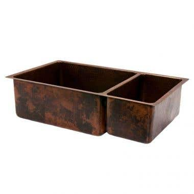 Premier Copper Products 33 Inch Hammered Copper Kitchen 75/25 Double Basin Sink
