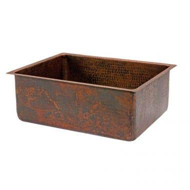 Premier Copper Products 25 Inch Hammered Copper Kitchen Single Basin Sink