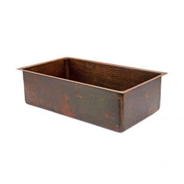 Premier Copper Products 30 Inch Hammered Copper Kitchen Single Basin Sink