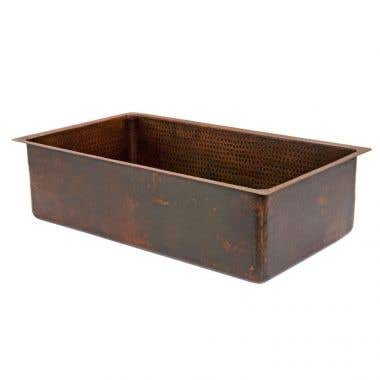 Premier Copper Products 33 Inch Hammered Copper Kitchen Single Basin Sink