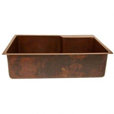 33 INCH HAMMERED COPPER KITCHEN SINGLE BASIN SINK WITH BUILT IN LEDGE FOR FAUCET MOUNTING