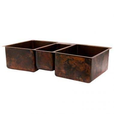 Premier Copper Products 42 Inch Hammered Copper Kitchen Triple Basin Sink