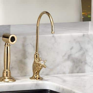 ROHL Low Lead Country Kitchen C Spout Filter Faucet with Cross Handle
