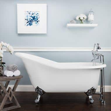 Randolph Morris Tub Package 13: 61-inch Slipper Clawfoot Bathtub with British Telephone Faucet